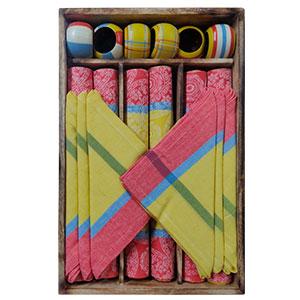 Juego de 6 manteles 6 servilletas 6 servilleteros de anillo y 1 charola a colores de 33x48/40x40cm