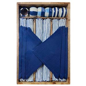 Juego de 6 manteles 6 servilletas 6 servilleteros de anillo y 1 charola blanco con azul de 33x48/40x40cm