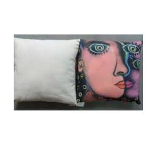 Cojín con estampado pintura de rostro de mujer de 45x45cm