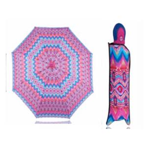Sombrilla de bolsillo rosa con grecas