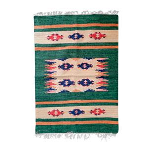 Tapete textil verde c/rombos azules de 60x90cm