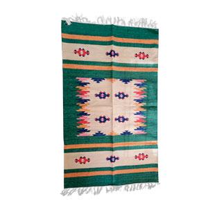 Tapete textil verde c/rombos azules de 90x150cm