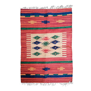 Tapete textil rojo c/rombos de colores de 60x90cm