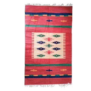 Tapete textil rojo c/rombos de colores de 90x150cm