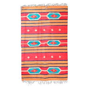 Tapete textil rojo c/rombos azules de 90x150cm