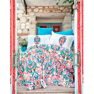 Juego de Edredón Queen Size diseño flores y guias de colores con 2 sabanas y 4 fundas de Almohadas de 220x220cm