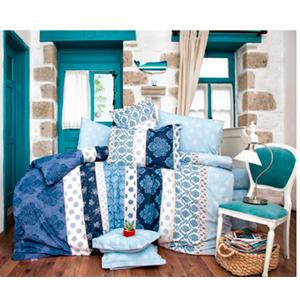 Juego de Edredón King Size en tonos azules con 2 sabanas y 4 fundas de Almohadas de 270x240cm