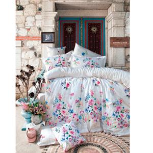 Juego de Edredón Queen Size blanco con flores con 2 sabanas y 4 fundas de Almohadas de 220x220cm