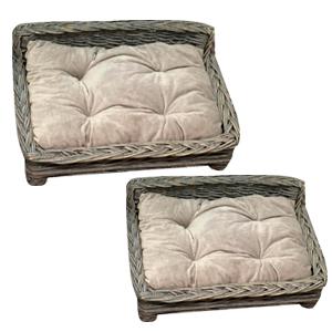 Juego de 2 camas para mascotas tejidas en color gris