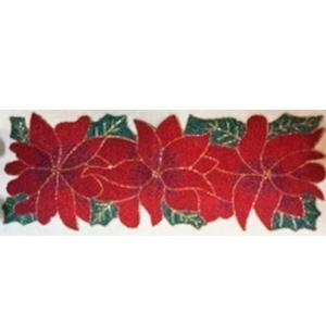Camino para mesa de chaquiras diseño flores de noche buena de 33x91cm