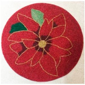 Mantel individual de chaquiras diseño flor de nochebuena roja de 38x38cm