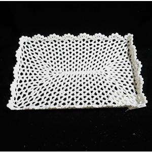 Charola tejido rectangular blanco de 37x25x3cm