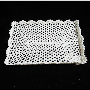 Charola tejido rectangular blanco de 31x20x3cm