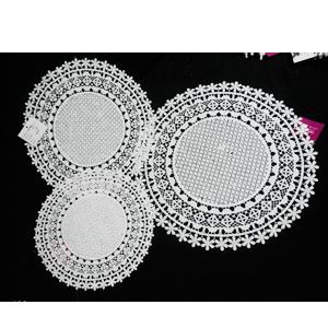 Mantel individual tejido blanco diseño flores de 36cm