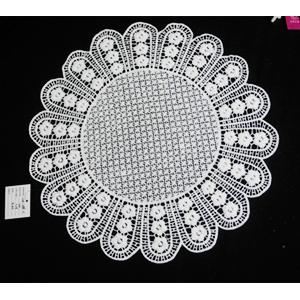 Mantel individual tejido blanco diseño flores de 40cm