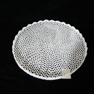 Charola plana blanca tejida de 39x3cm