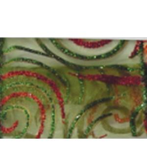 Rollo de Listón de gasa verde con líneas rojas de 6.35cmx10m