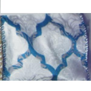 Rollo de listón blanco con rombos azules de 6.35cmx10m