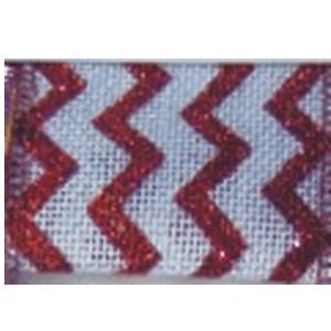 Rollo de listón blanco con líneas en zigzag rojas de 6.35cmx10m