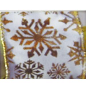 Rollo de listón blanco con copos de nieve dorados de 6.35cmx10m