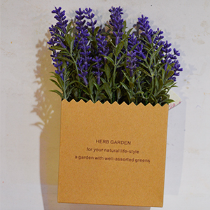 Maceta diseño bolsa de papel con flores lavanda