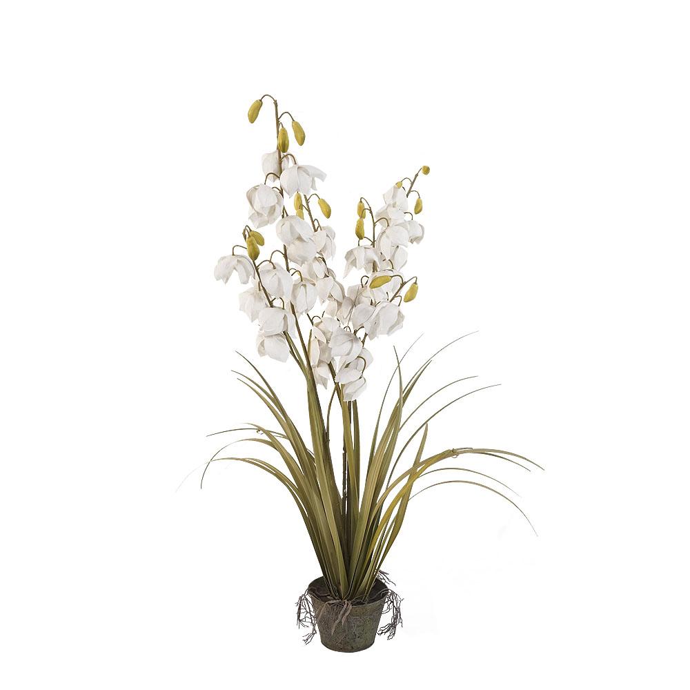 Maceta con follaje verde y flores blancas de 92cm