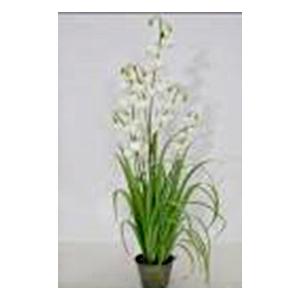 Maceta con follaje verde y flores blancas de 122cm