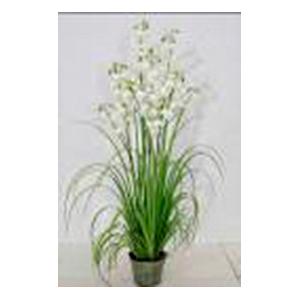 Maceta con follaje verde y flores blancas de 153cm