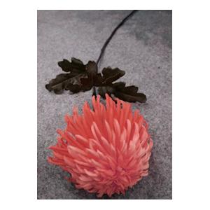 Vara con crisantemo roja con hojas