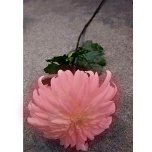 Vara con crisantemo lila con hojas