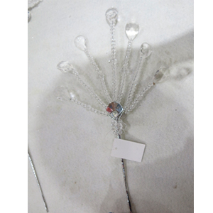 Vara con cuentas en forma de avanico de acrilico transparente de 64cm