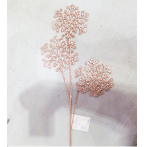 Vara dorada con copos de nieve de 66cm