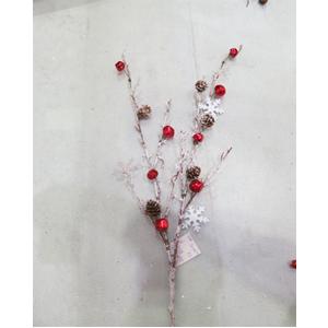 Vara nevada con cascabeles rojas piñas y copos de nieve 88cm