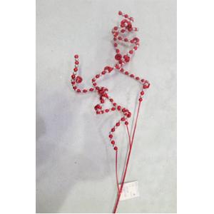 Vara con cuentas rojas y blancas de 70cm