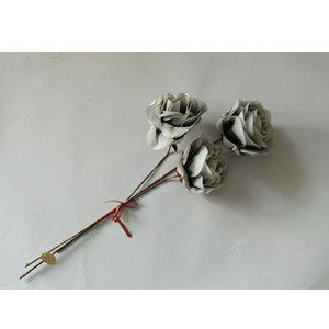 Vara de 3 rosas color gris de 89cm