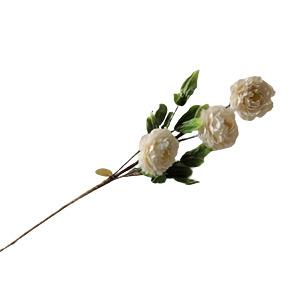 Vara con 3 flores blancas con hojas verdes de 87cm