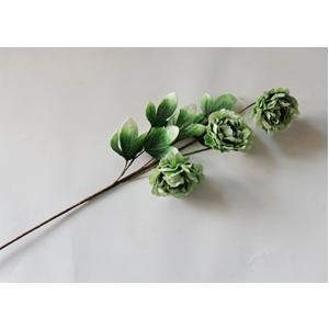 Vara con 3 flores verdes con hojas de 87cm