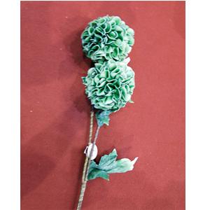 Vara con 2 flores verdes con hojas de 87cm