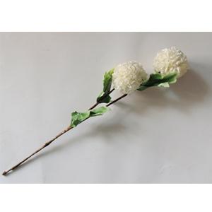 Vara con 2 flores blancas con hojas verdes de 87cm