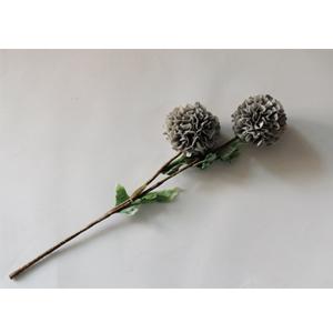 Vara con 2 flores grises con hojas verdes de 87cm