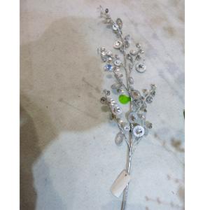 Vara con cuentas de cristal plata de 83cm