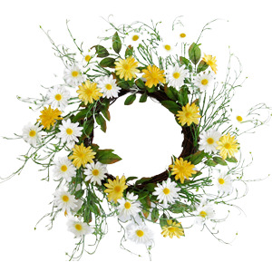 Corona de flores amarillas y blancas con follaje verde de 55cm