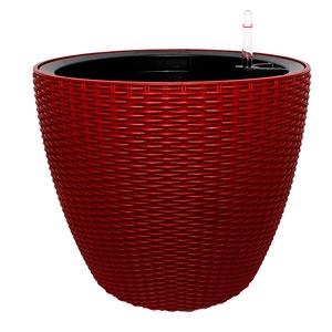 Maceta de plastico color rojo con medidor de agua de 36x35x5cm