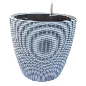 Maceta de plastico color gris con medidor de agua de 36x35x5cm