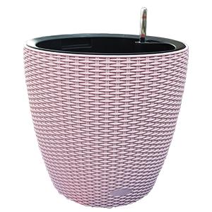 Maceta de plastico color rosa con medidor de agua de 36x35x5cm