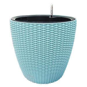 Maceta de plastico color azul con medidor de agua de 36x35x5cm