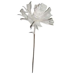 Vara con flor exótica de látex blanca con hojas