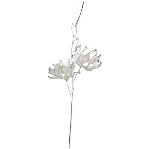 Vara con 2 flores exóticas blancas con hojas de látex