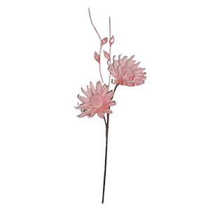 Vara con 2 flores exótica rosa y hojas de látex