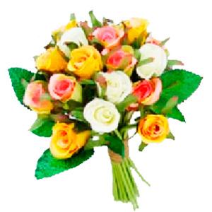 Bouquet de rosas amarillas, rosas y blancas